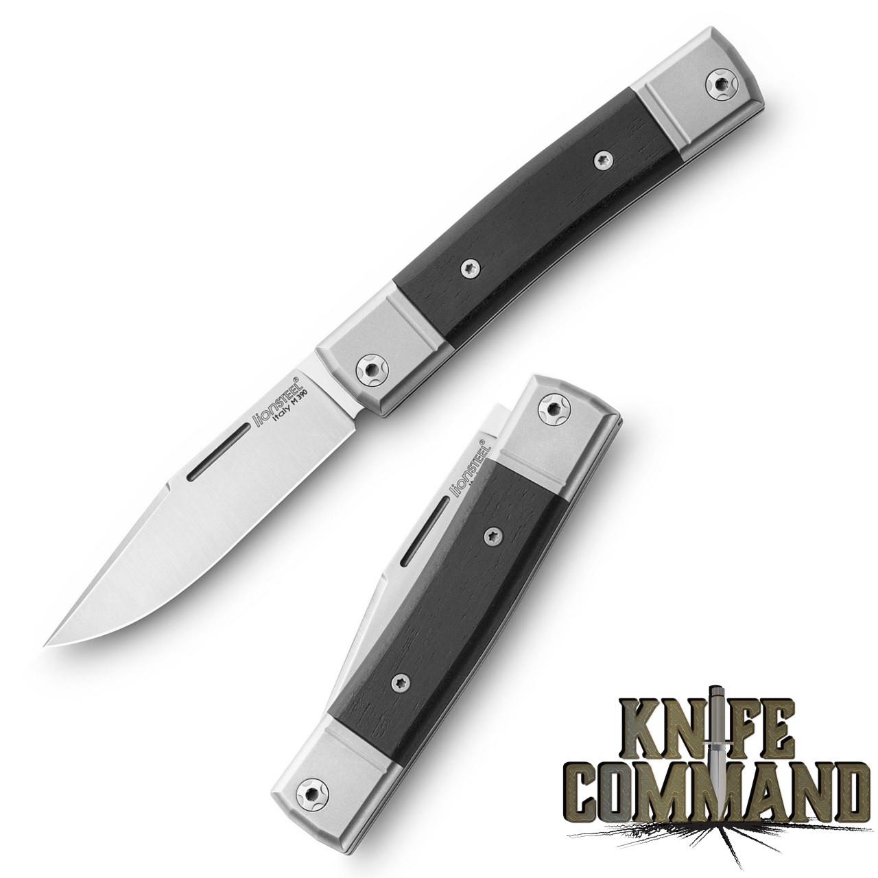 LionSteel Knives Best Man Traditional Ebony Wood Single-blade Slip-joint Folding knife BM1-EB