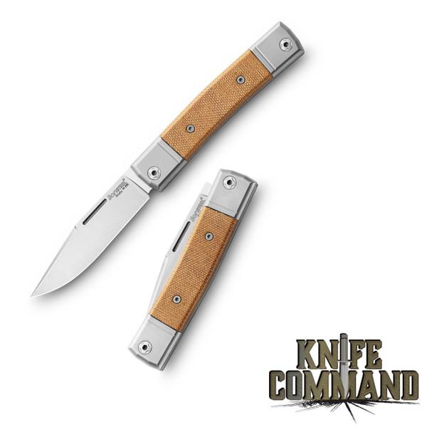 LionSteel Knives Best Man Traditional Natural Canvas Micarta Single-blade Slip-joint Folding knife BM1-CVN