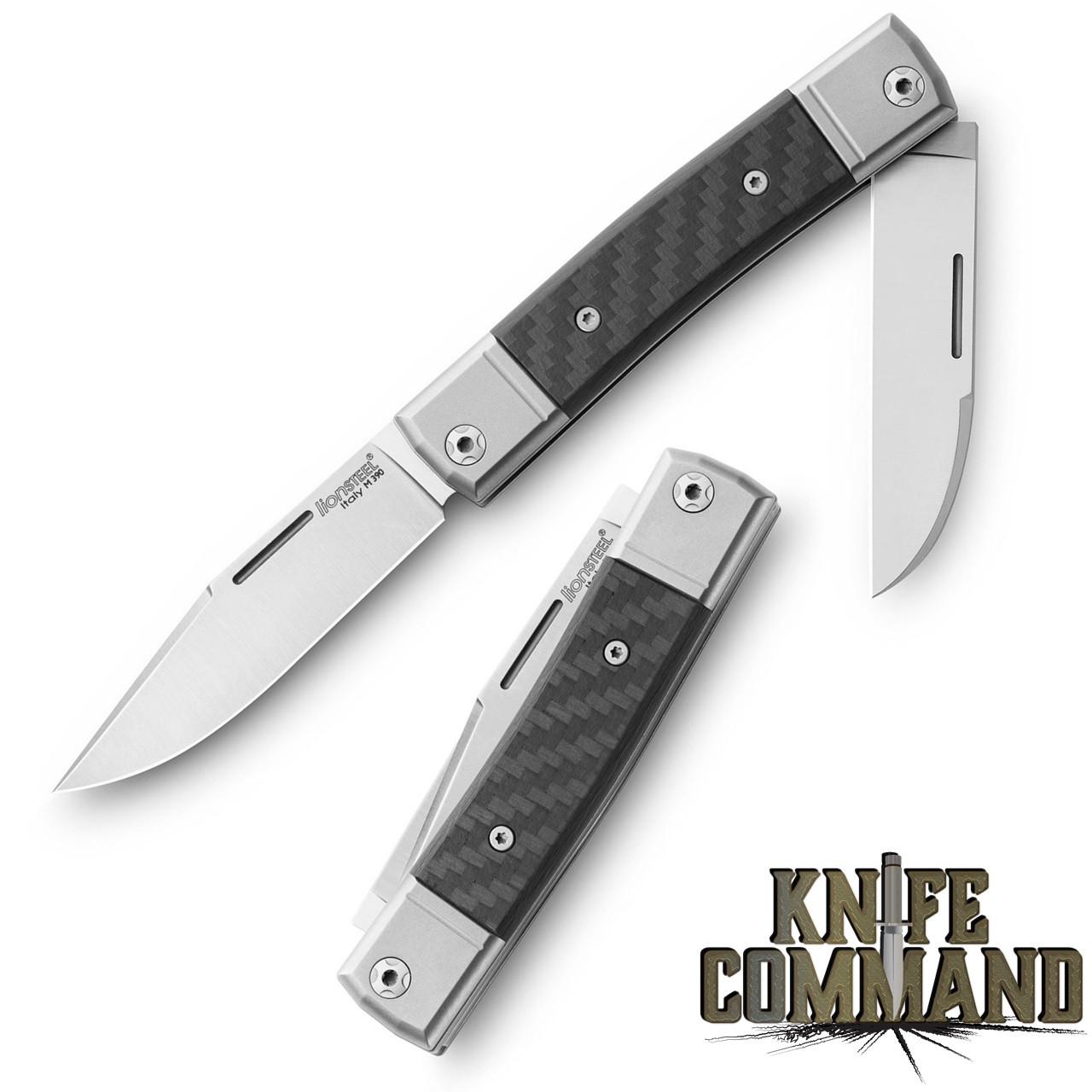 LionSteel Knives Best Man Traditional Carbon Fiber Two-blade Slip-joint Folding knife BM13-CF