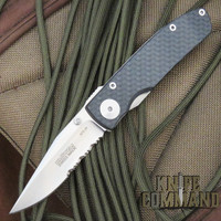 Klotzli Knives Michael Walker ACC-M1-CS Carbon Fiber Titanium Folding Knife Serrated Edge