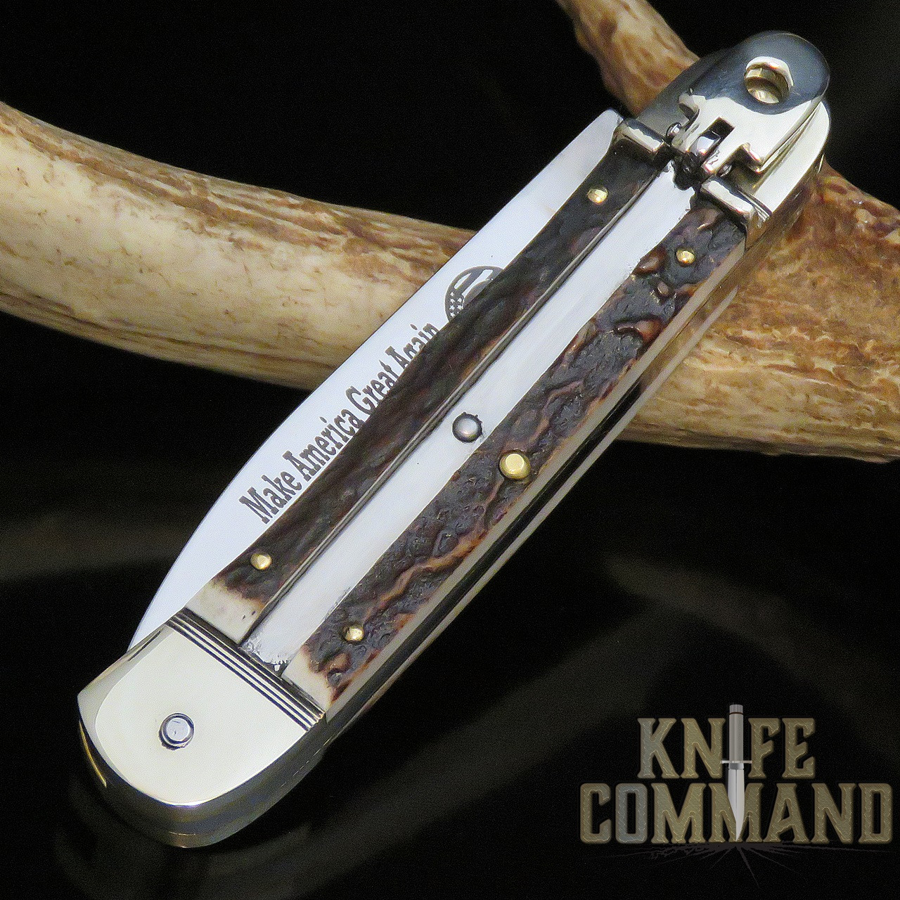 Hubertus Solingen Limited Edition MAGA Trump 2016 Stag Springer Automatic Knife