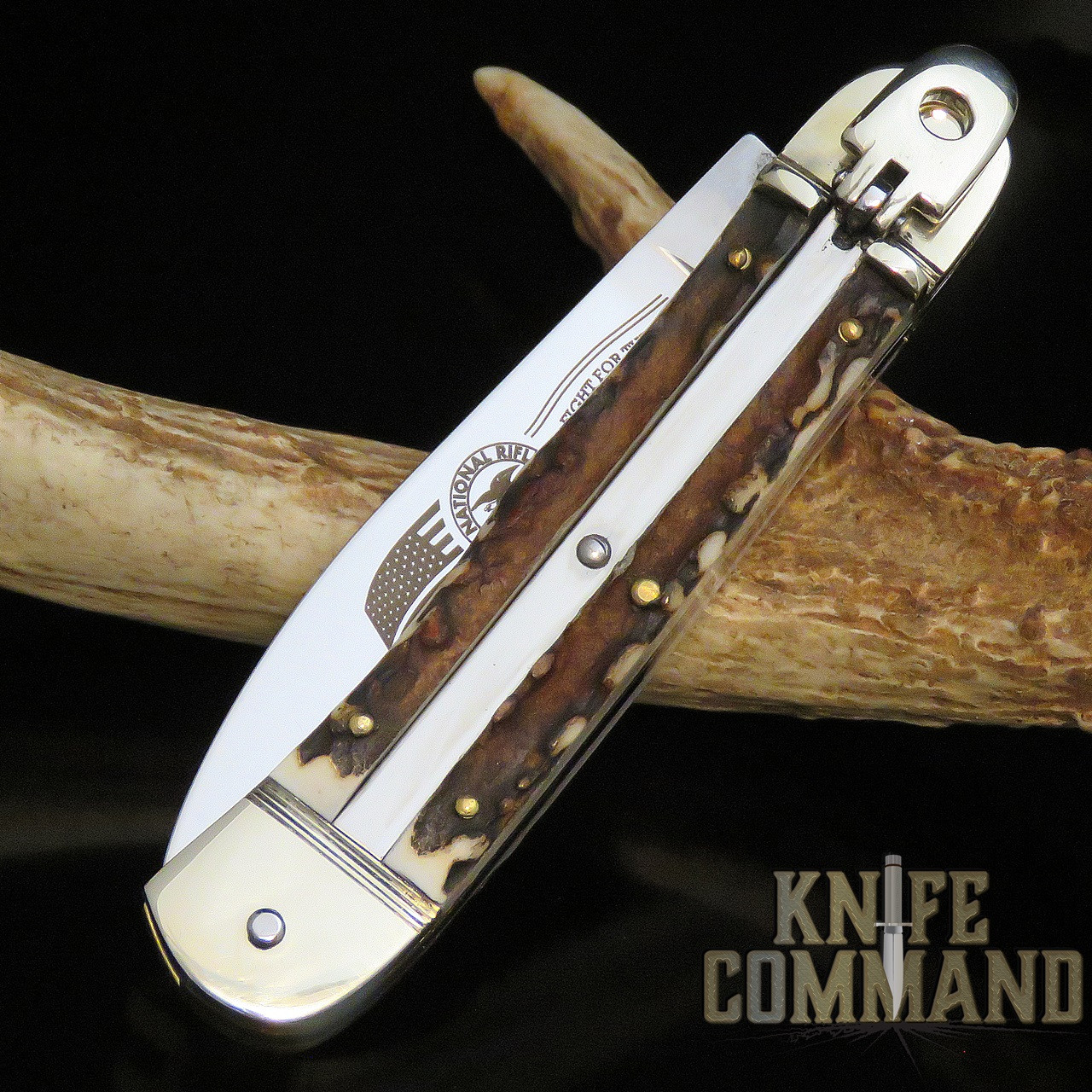 Hubertus Solingen Limited Edition NRA 2nd Amendment Stag Springer Automatic Knife