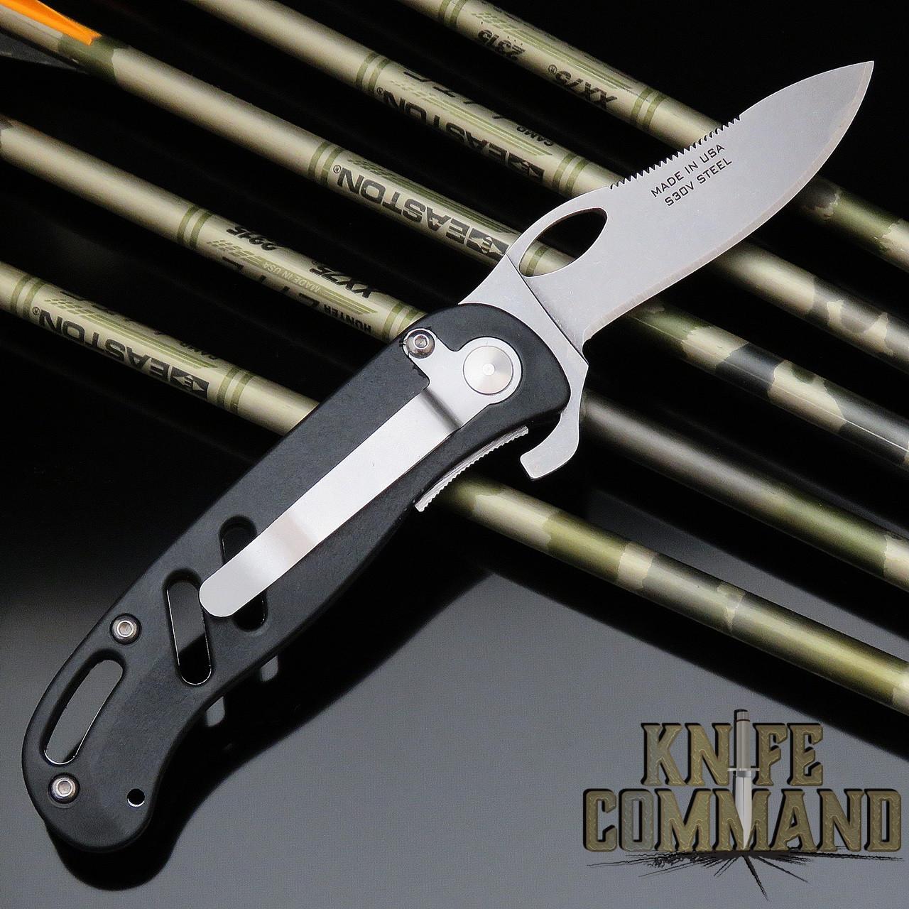 Knives of Alaska SideWinder Pocket Hunting Knife Black SureGrip with Clip 00690FG