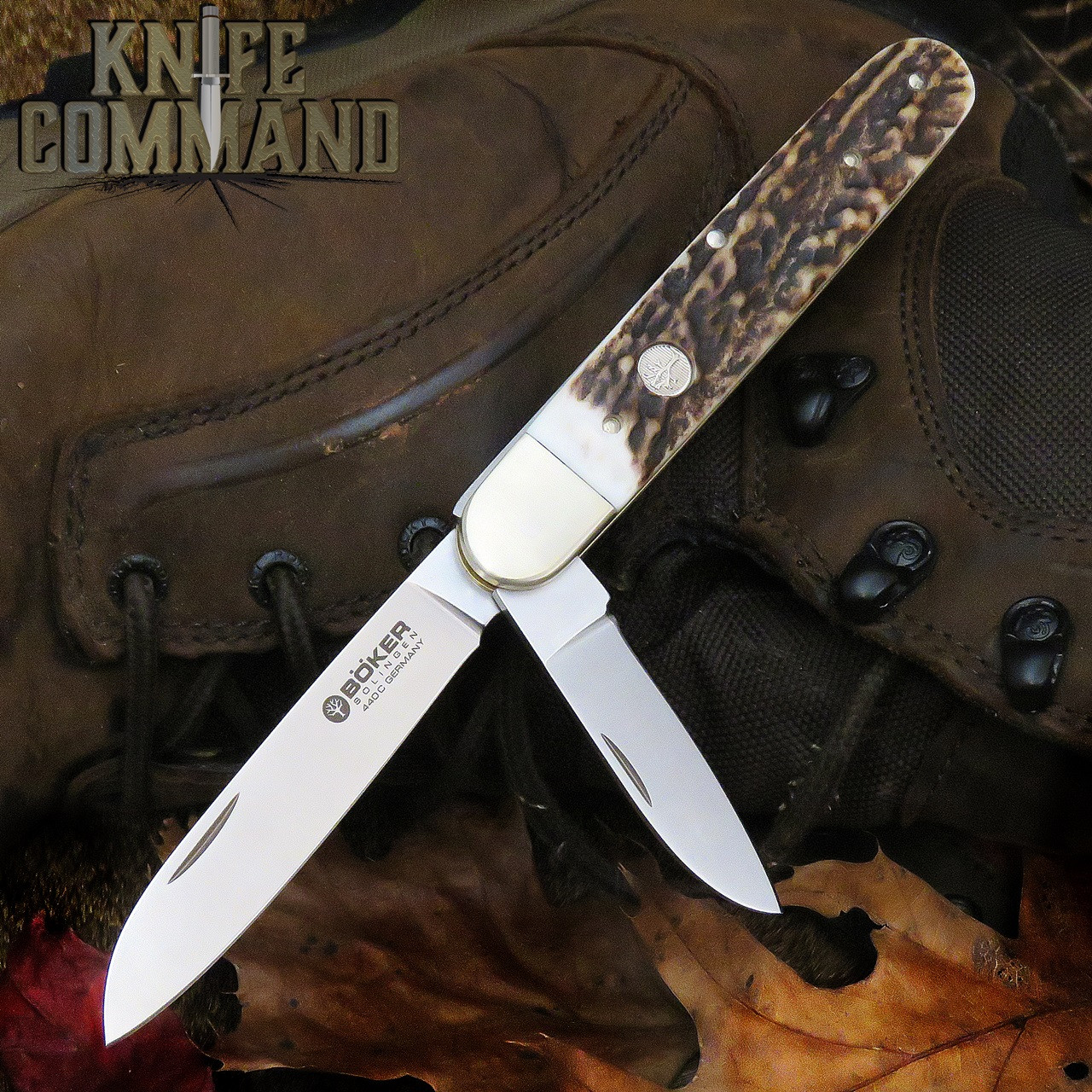 Boker Knives Enigma Model 113031 Stag Pen Blade Release Lockback Pocket Knife