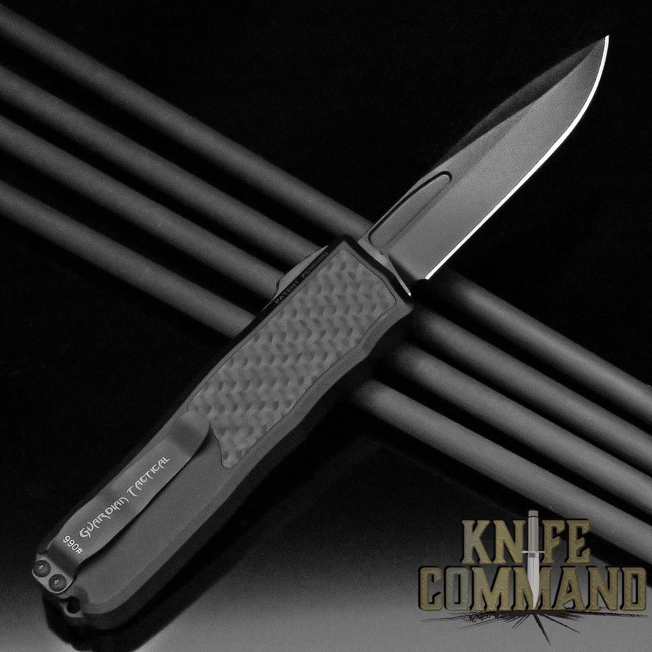 Guardian Tactical Recon-035 OTF Carbon Fiber Elmax Automatic Knife All Black Tactical 92111