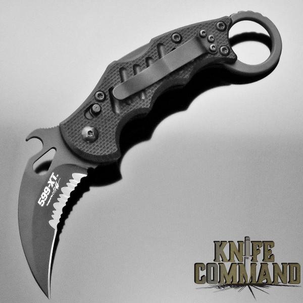 Fox Knives FX-599XTS Folding Lockback Karambit Knife Black G10 Serrated