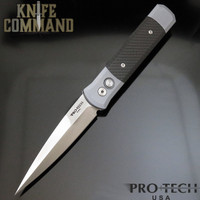 "Pro-Tech Knives Godfather 900CF Automatic Knife Special Grey / Carbon Fiber with 4"" Satin Blade"