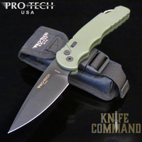 "Pro-Tech Knives Tactical Response TR-4.3 Green Automatic Knife Police Law Enforcement Folder 4"" Black DLC Blade"