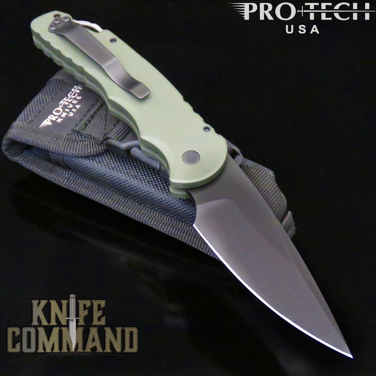 "Pro-Tech Knives Tactical Response TR-4.3 Green Automatic Knife Police Law Enforcement Folder 4"" Black DLC Blade"