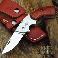 Moki TS-500J Gunblade Quince Wood Burl Lockback Folding Knife and Sheath