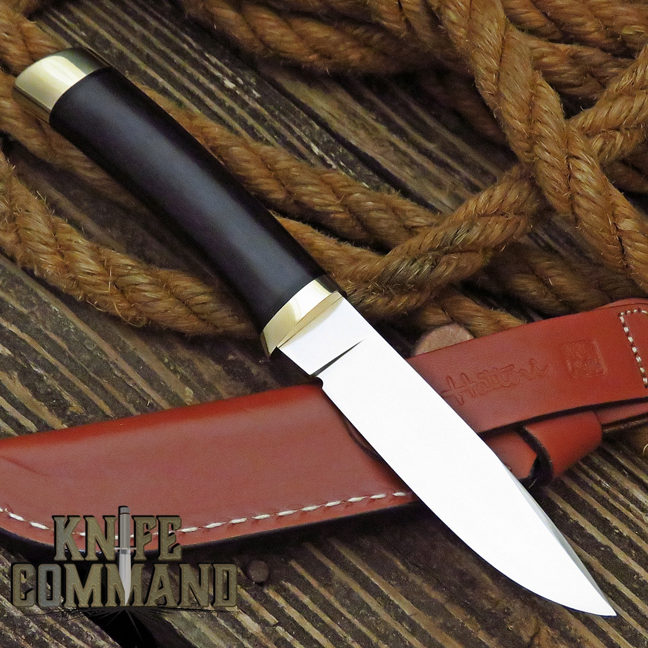 Hattori Knives Model 3718 Utility Hunter Ebony Hunting Knife