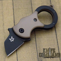 Fox Knives Mini-TA Miniature Coyote Brown Black Blade Folding Karambit Keychain Knife FX-536 CBB