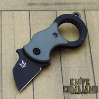 Fox Knives Mini-TA Miniature Olive Drab Green Black Blade Folding Karambit Keychain Knife FX-536 ODB