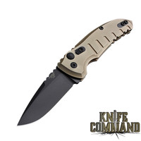 "Hogue Knives A01-MicroSwitch Folder: 2.75"" Drop Point Blade - Black Cerakote Finish, Matte FDE Aluminum Frame 24117"