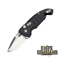 "Hogue Knives A01-MicroSwitch Folder: 1.95"" Drop Point Blade - Tumbled Finish, Matte Black Aluminum Frame 24120"