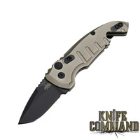 "Hogue Knives A01-MicroSwitch Folder: 1.95"" Drop Point Blade - Black Cerakote Finish, Matte FDE Aluminum Frame 24127"