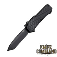"Hogue Knives Compound OTF Automatic: 3.5"" Tanto Blade - Black PVD Finish, Solid Black G10 Frame 34026"