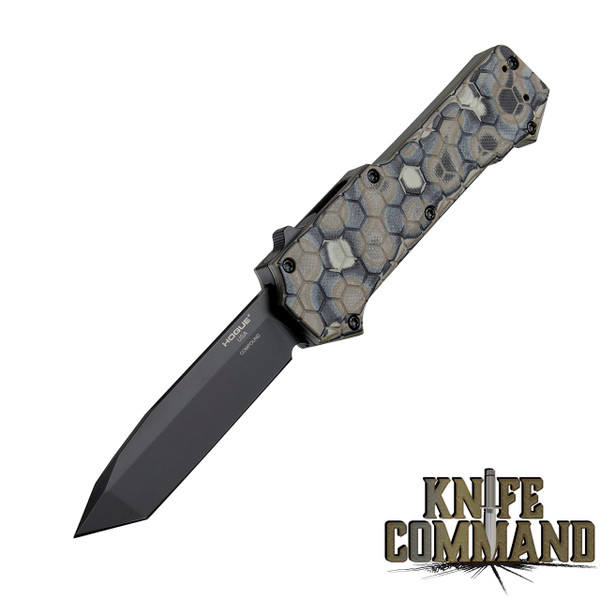 """ogue Knives Compound OTF Automatic: 3.5"""" Tanto Blade - Black PVD Finish, G-Mascus Dark Earth G10 Frame 34027"""