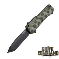 "ogue Knives Compound OTF Automatic: 3.5"" Tanto Blade - Black PVD Finish, G-Mascus Green G10 Frame 34028"