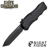 "Hogue Knives Exploit OTF Automatic: 3.5"" Tanto Blade - Black PVD Finish, Matte Black Aluminum Frame - Tritium Trigger 34047"