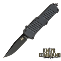 "HK Mini Incursion OTF Automatic: 2.95"" Clip Point Blade - Black PVD Finish, Matte Black Aluminum Frame 54056"