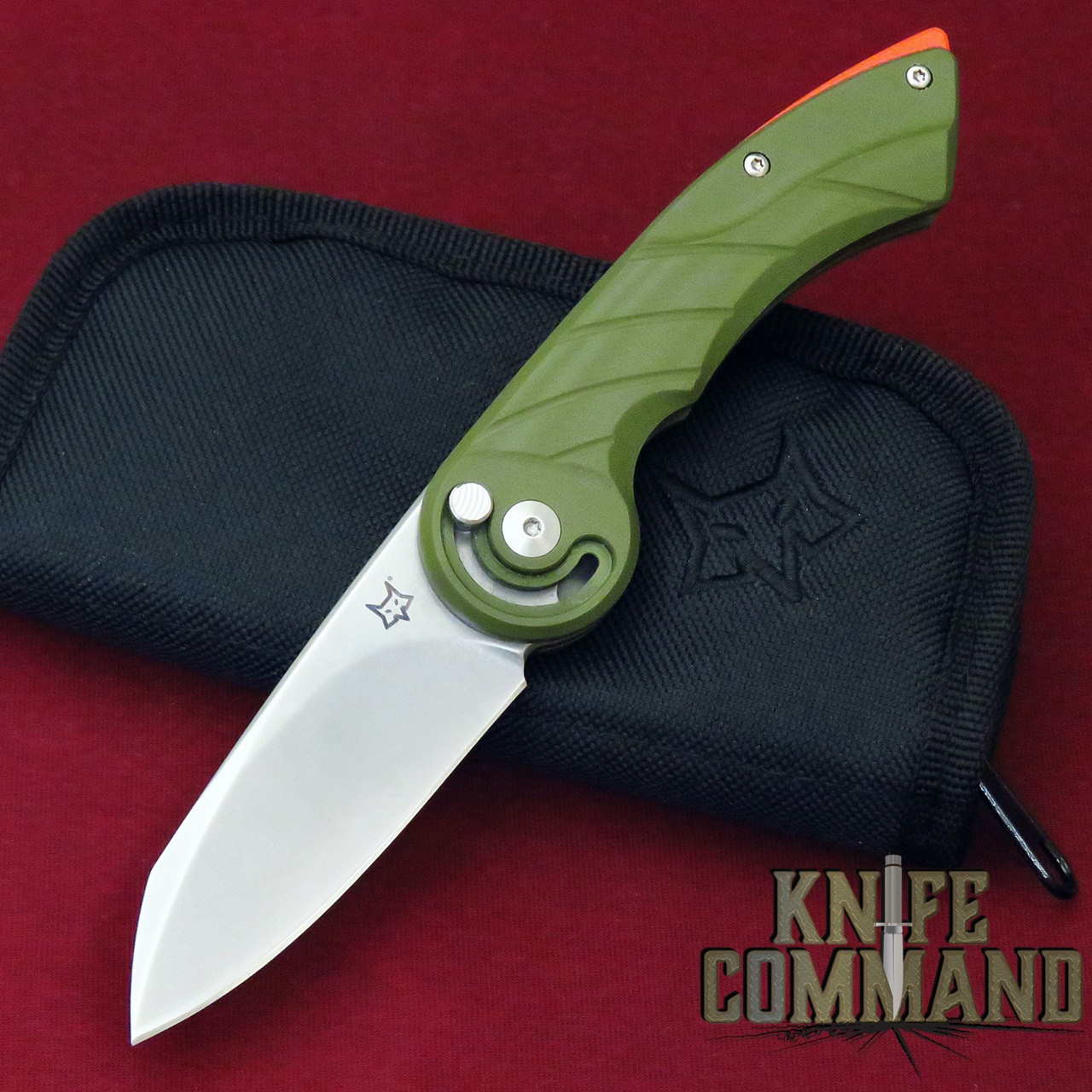 Fox Knives Radius Olive Drab Green / Orange Spacer Folding Knife FX-550 G10 OD