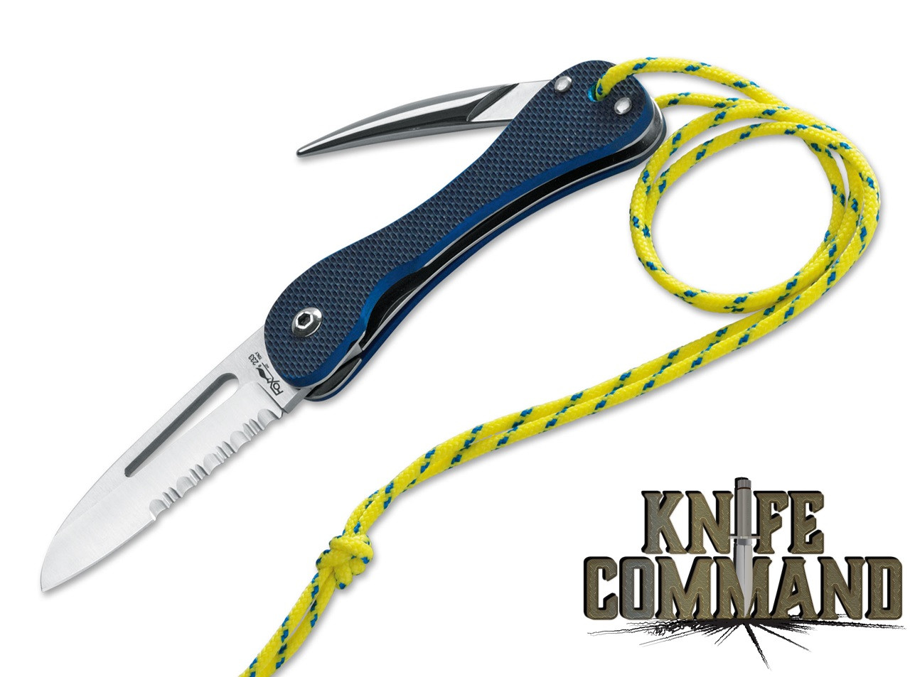 Fox Knives FX-233 G10 Blue Sailing Rigging Knife with Marlin Spike