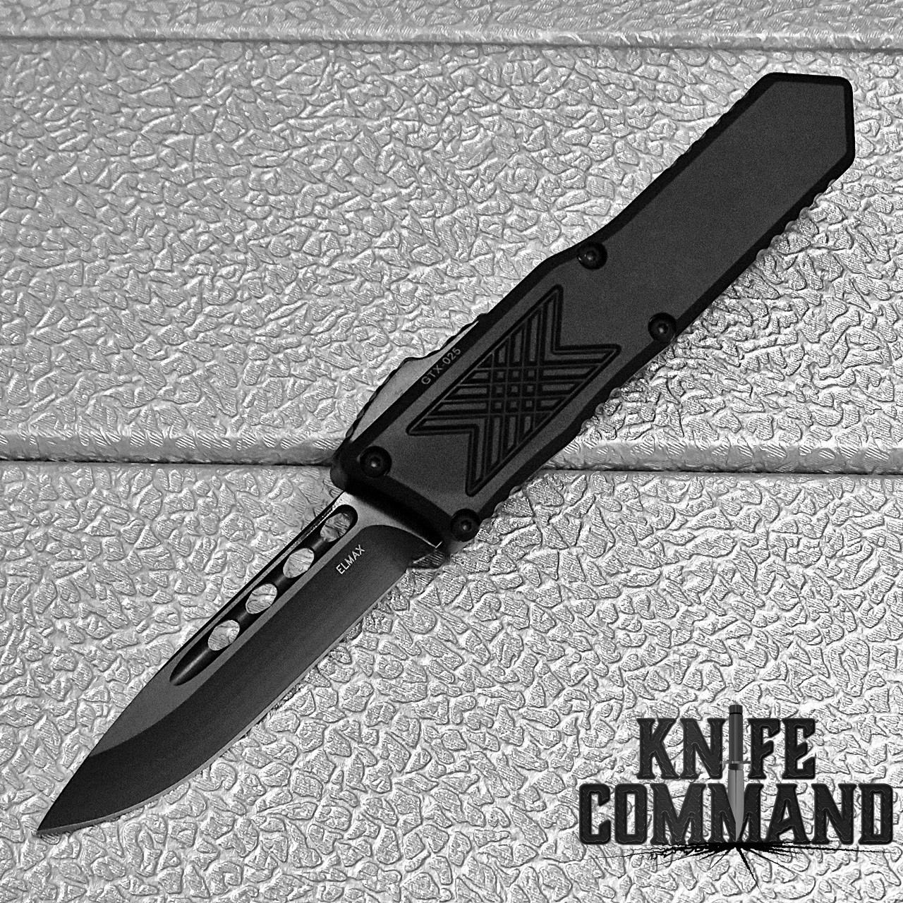 Guardian Tactical GTX-025 OTF Automatic Knife Elmax All Black Drop-point 12-3111