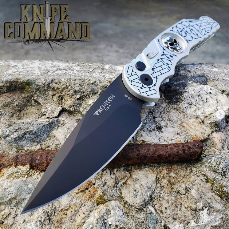 """Pro-Tech Knives Tactical Response TR-5.62 Shaw Skull Barbed Wire Automatic Knife Folder 4"""" S35VN Blade"""