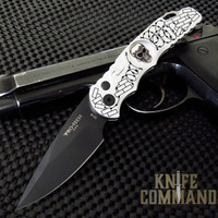 "Pro-Tech Knives Tactical Response TR-5.62 Shaw Skull Barbed Wire Automatic Knife Folder 4"" S35VN Blade"
