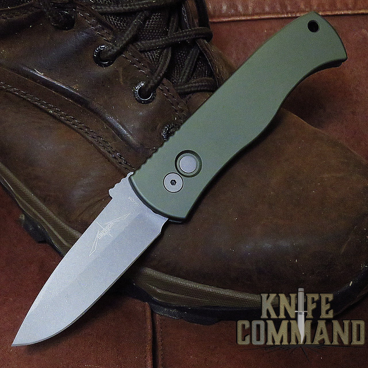 """Pro-Tech Knives Emerson CQC7 A OD Green Spear Point Automatic Knife Folder 3.25"""" Bead Blasted Blade"""