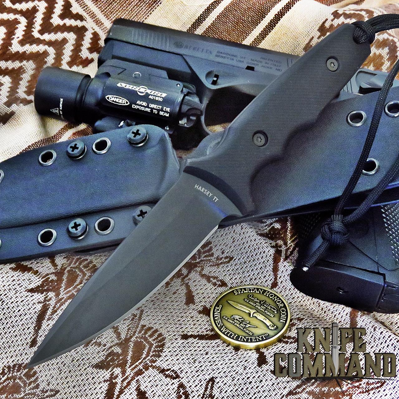 Spartan Blades Harsey Tactical Trout Knife Black / Black Kydex Sheath SB43BKBKKYBK