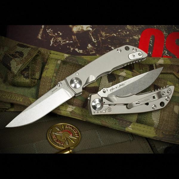 """Spartan Blades Harsey Folder 3.25 Stone Washed Titanium 3.25"""" CPM S45VN Blade SF10SW"""