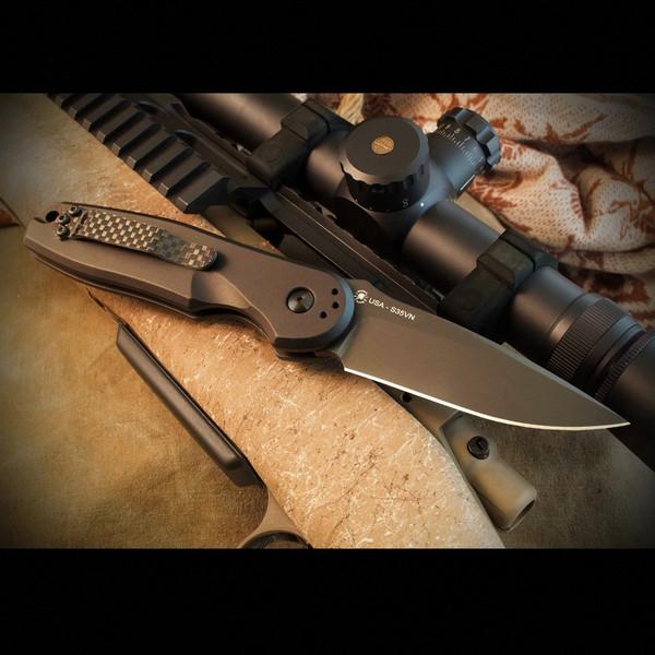 Spartan Blades Zelos AUTOMATIC Folder Black Handle Black CPM S45VN Blade SF9