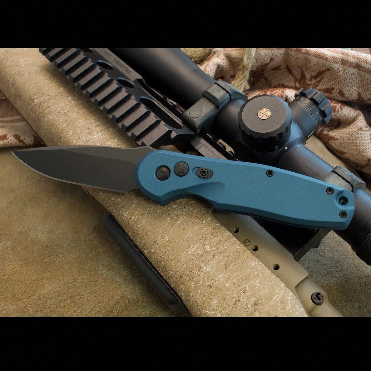 Spartan Blades Zelos AUTOMATIC Folder Blue Handle Black CPM S45VN Blade SF9
