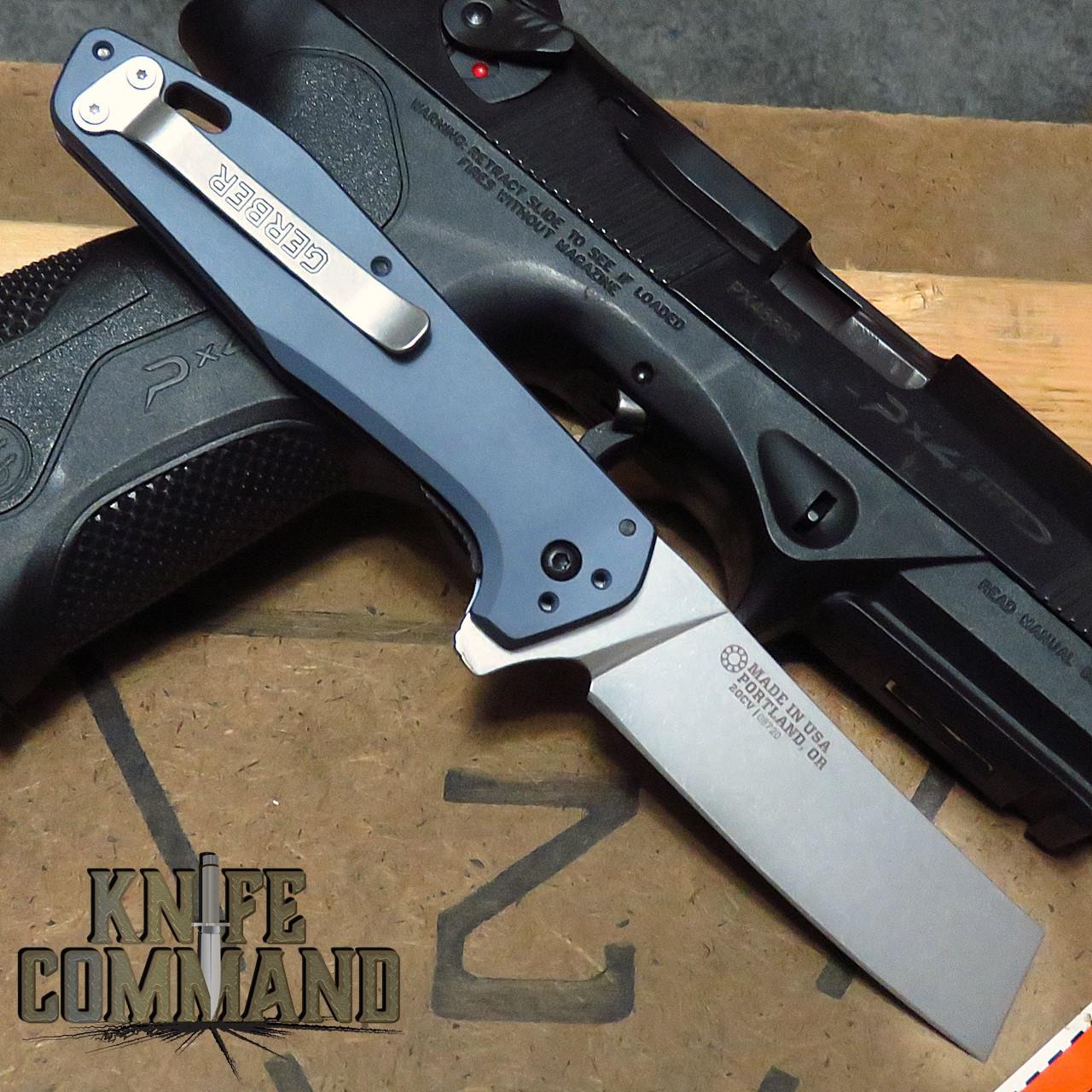 Gerber 30-001837 Fastball Cleaver Urban Blue 20CV Stonewash Flipper Knife