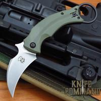 Fox Knives Bastinelli OD Green Black Bird Karambit Folding Knife FX-591ODSW Stonewashed Blade