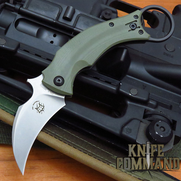 Fox Knives Bastinelli OD Green Black Bird Karambit Folding Knife FX-591ODSW Stonewashed Blade