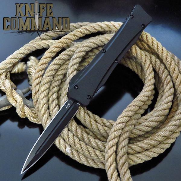 Boker Plus Dagger Lhotak OTF Automatic Knife Double Edge Black 06EX222 Cobratec Knives