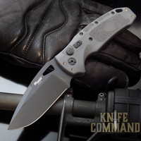 "Hogue Knives Sig Sauer K320A Grey Automatic Folder 3.5"" Drop Point Blade - Black Cerakote Finish, Poly Frame Knife 36332"
