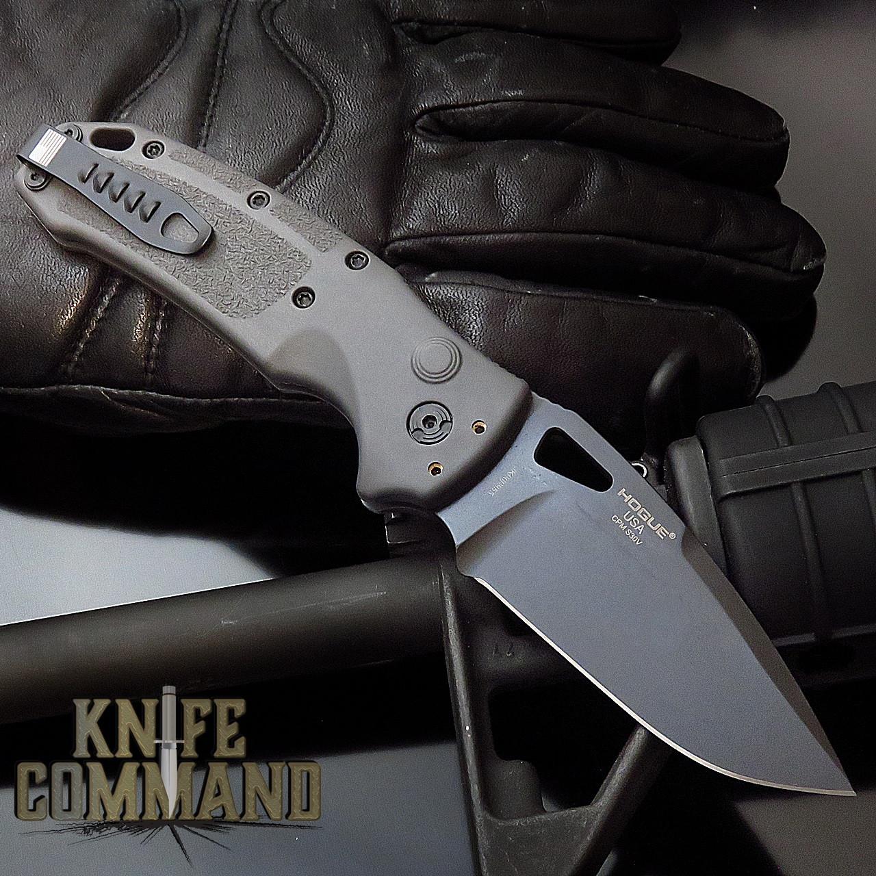 "Hogue Knives Sig Sauer K320A Grey Automatic Folder 3.5"" Drop Point Blade - Black Cerakote Finish, Poly Frame Knife 36332"