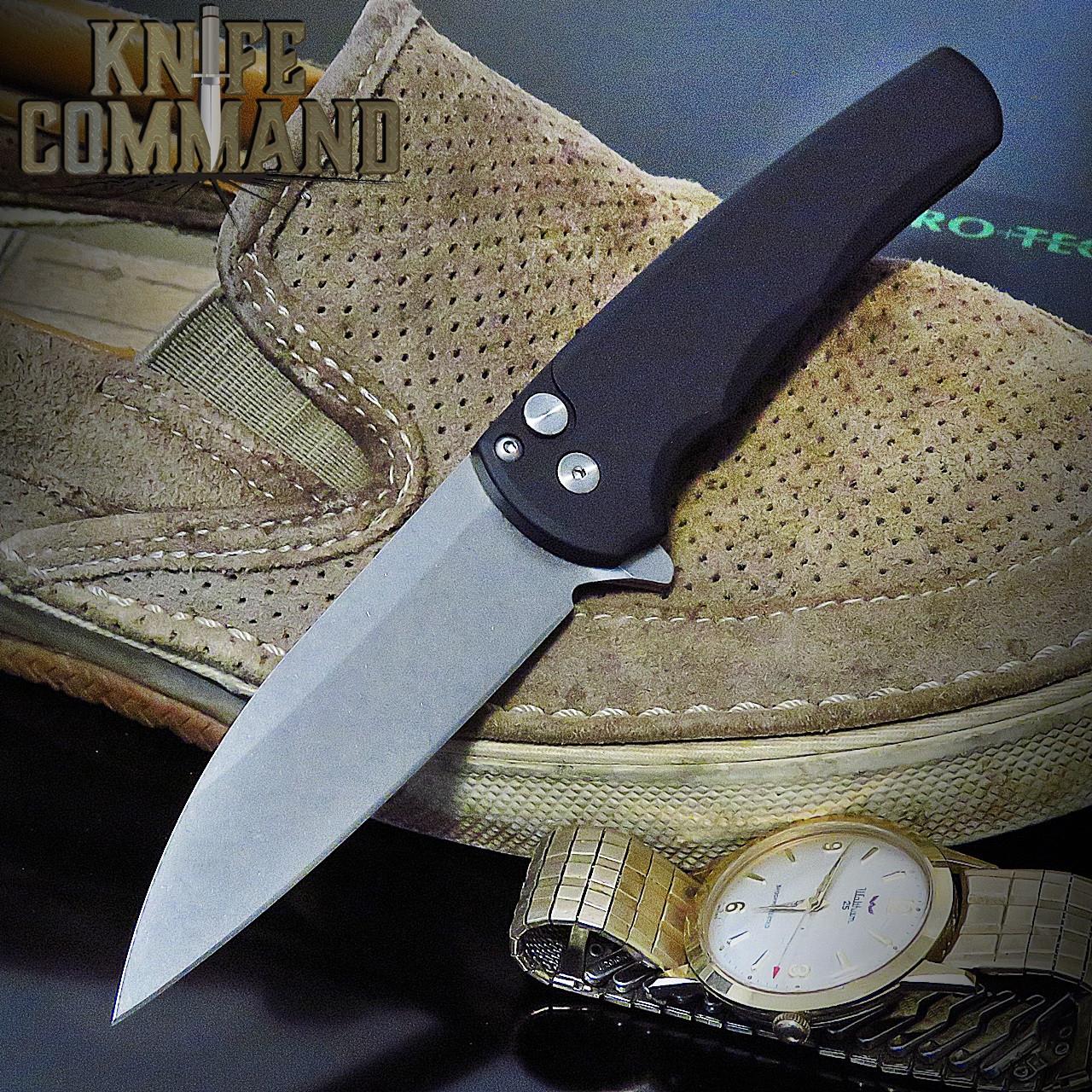 "Pro-Tech Knives 5101 Malibu Manual Flipper Knife Folder 3.25"" Stonewash CPM-20CV Wharncliffe Blade"