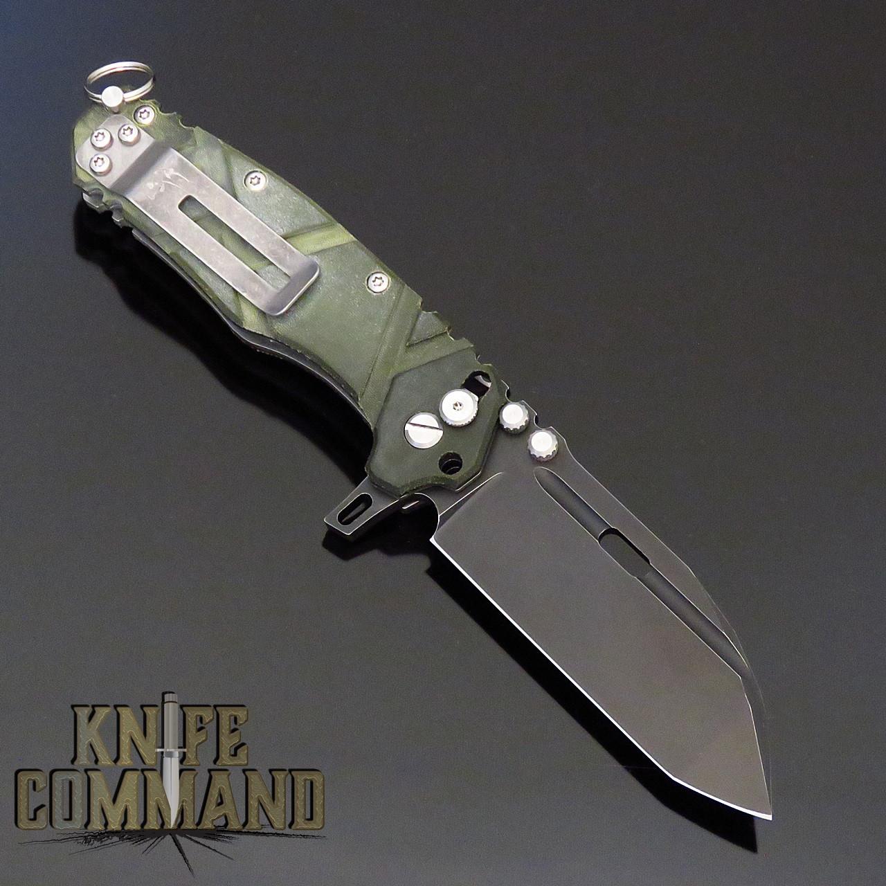 Wander Tactical Hurricane Custom Gen 3 Extreme Duty Folding Knife Green Micarta / Black