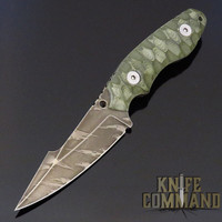 Wander Tactical Custom Barracuda Fixed Blade Knife Green Micarta / Ice Brush Blade