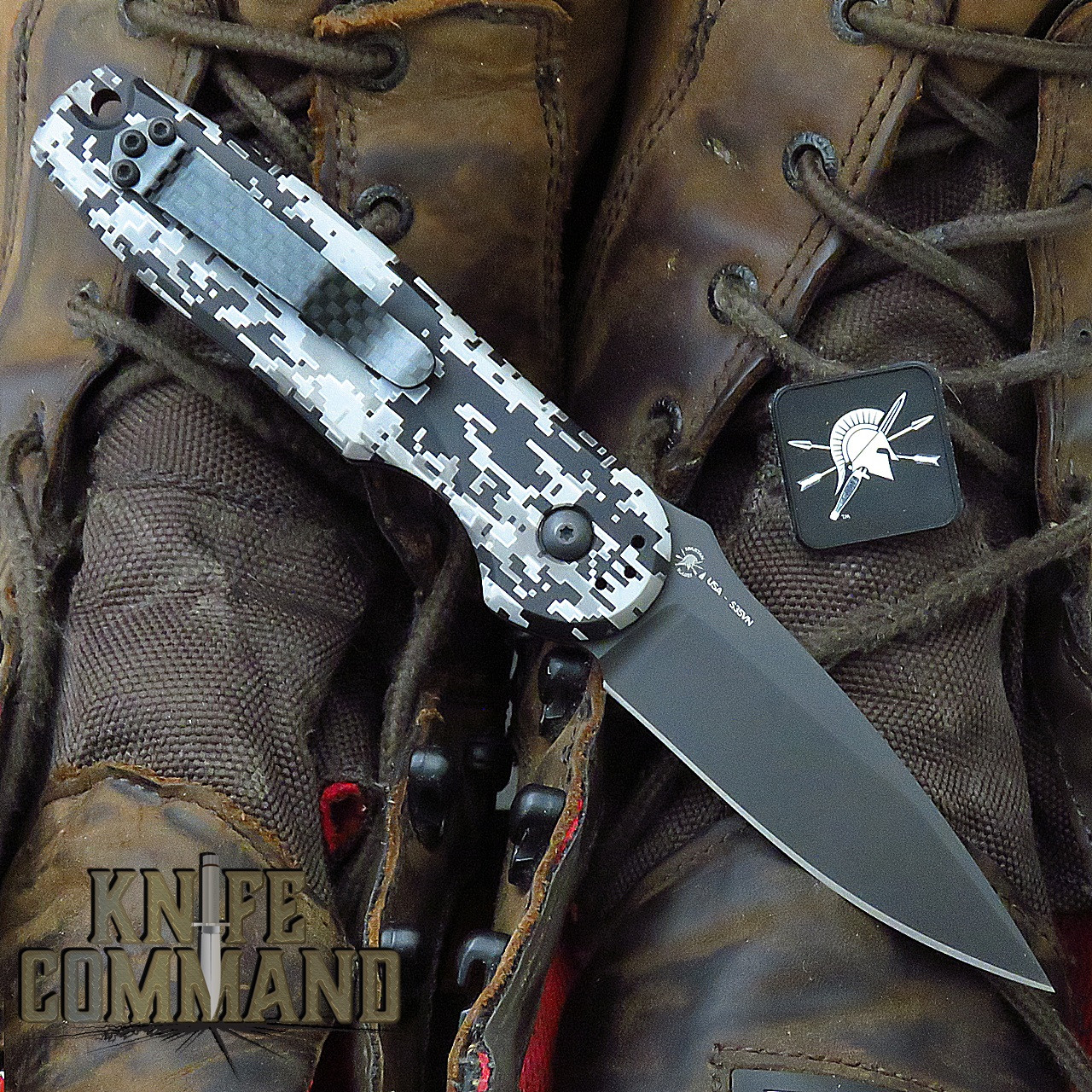 Spartan Blades Zelos AUTOMATIC Folder Camo Handle Black CPM S35VN Blade SF9