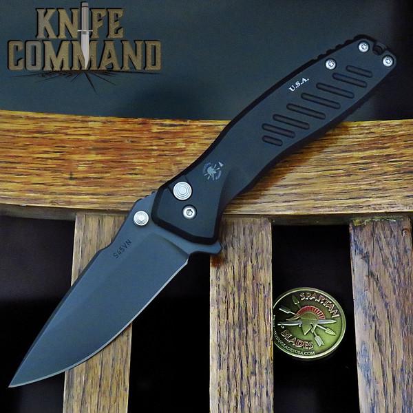 Spartan Blades PALLAS Button Lock Flipper Folder Black CPM S45VN Blade SF3BK