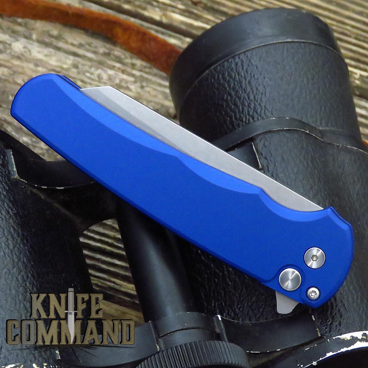 "Pro-Tech Knives 5201 Blue Malibu Manual Flipper Knife Folder 3.25"" Stonewash CPM-20CV Reverse Tanto Blade"