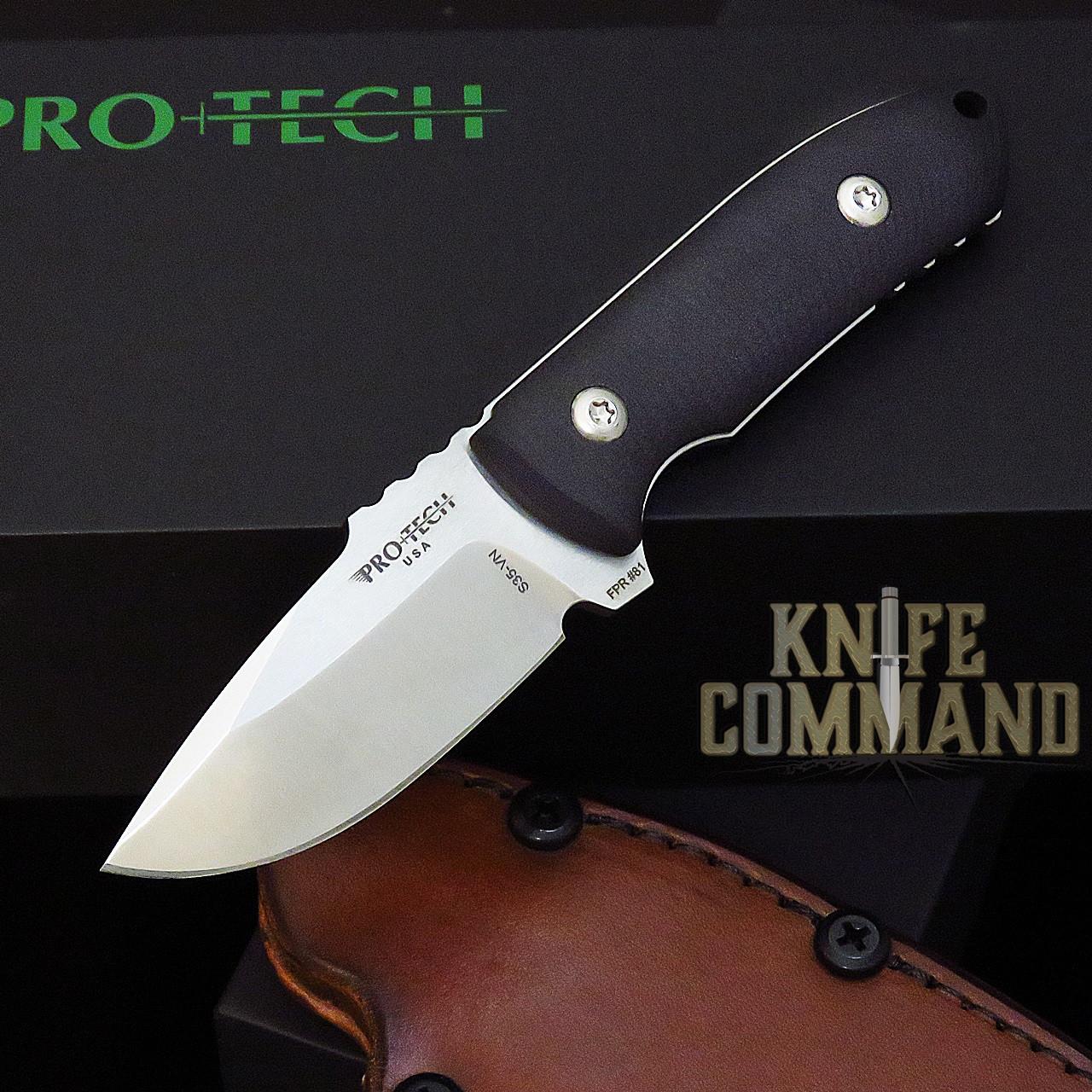 Pro-Tech Knives SBR Short Blade Rockeye Fixed Blade Knife LG502 Les George Satin S35VN Blade Leather Sheath