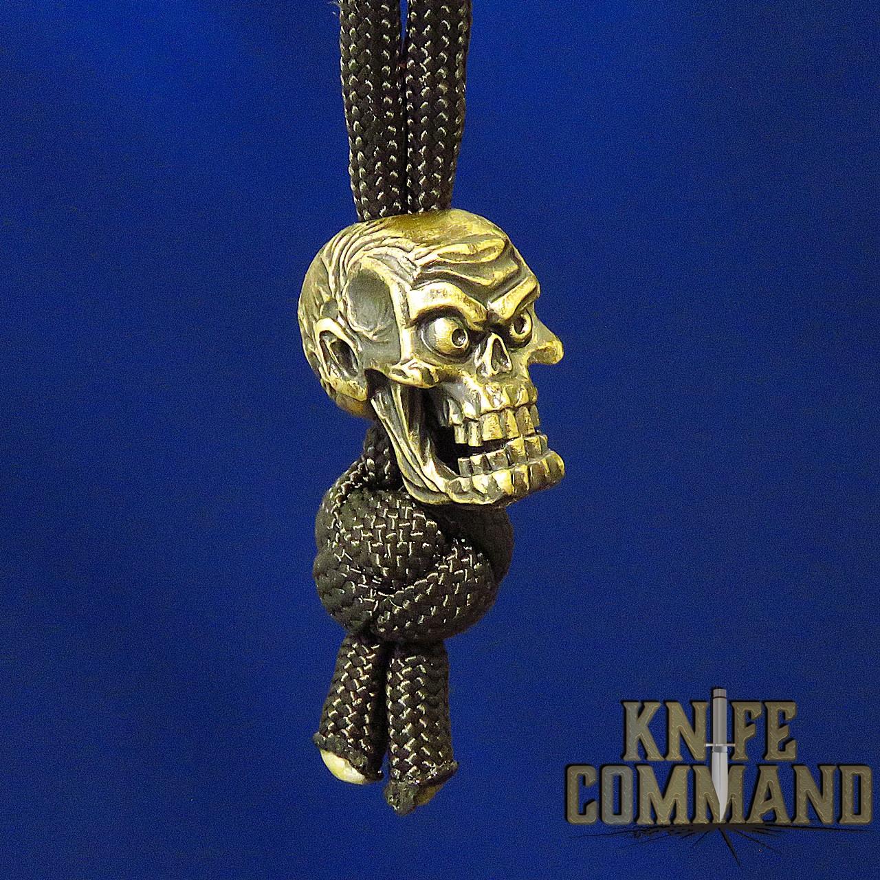 Techno Silver Factory Zombie Skull Brass Knife Lanyard Bead