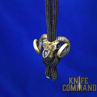 Techno Silver Bighorn Ram Skull Brass Knife Lanyard Bead